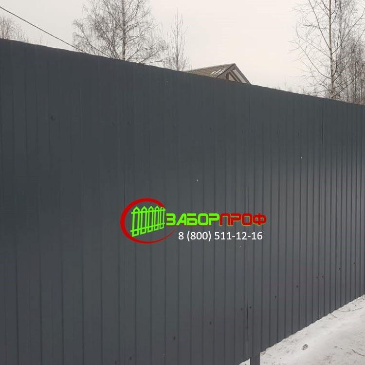Забор из одностороннего профлиста в Московской области
